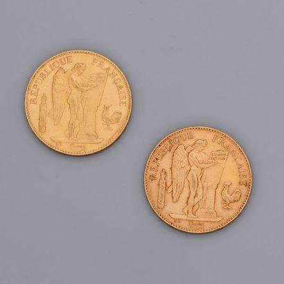Lot : 2 pièces de 100 francs en or de 1834...
