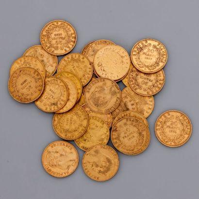Lot de 28 pièces d'or de 20 francs Napoléon...
