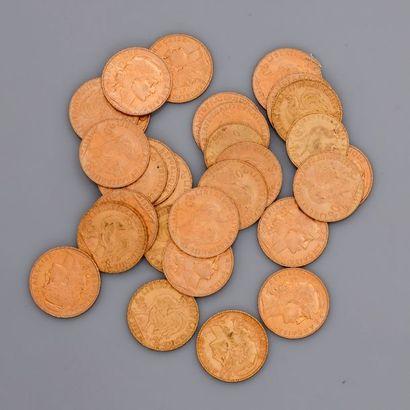 Lot de 27 pièces d'or COQ de 20 francs de...