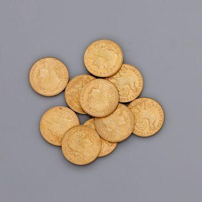 Lot: 10 pièces or 20 francs 1909 Coq, poids:...