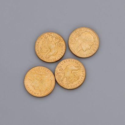 Lot: 4 pièces or 20 francs 1909 Coq, poids:...