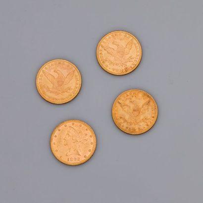 Lot: 4 pièces $ 10 US , 2 de 1887 et 2 de...