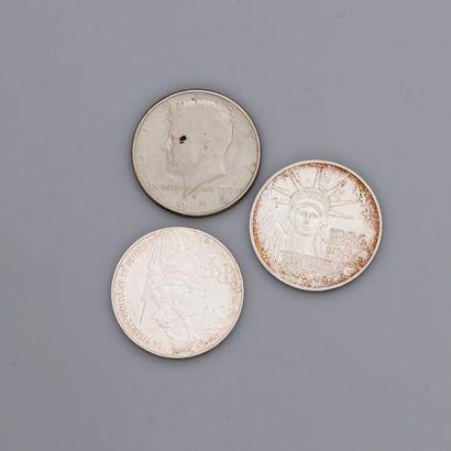Lot : 2 pièces argent 100 francs1986 et...