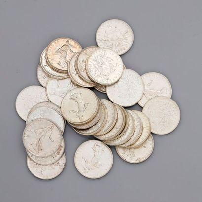 Lot: 29 pièces de 5 francs 1960, poids:...