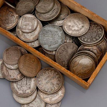 Lot de 95 pièces en argent XIXe et début...