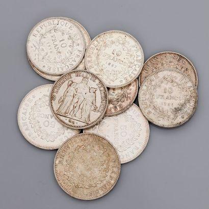 Lot: pièces de 10 francs argent: 2 de 1965,...