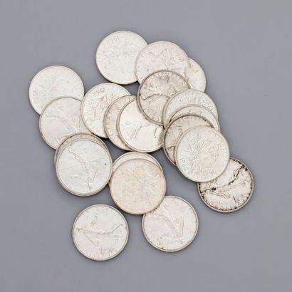 Lot : 21 pièces de 5 francs 1962, poids...
