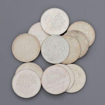Lot: Pièces argent: pièces de 100 francs:...