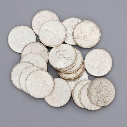 Lot: 21 pièces de 5 francs 1963, poids:...