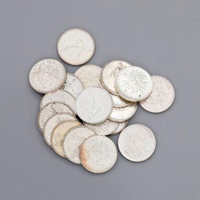 Lot: 11 pièces de 5 francs...