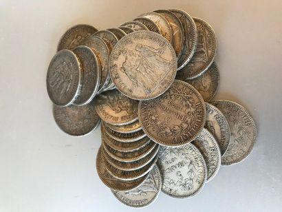 Lot : Pièces de 5 francs argent , 17 de...