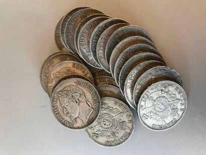 Lot : Pièces de 5 francs argent , 6 de 1867,...