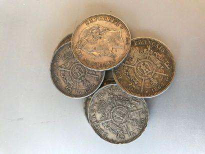 Lot: 8 pièces de 5 francs...