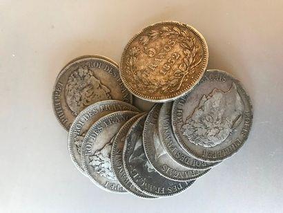 Lot : Pièces de 5 francs argent, 3 de 1832...