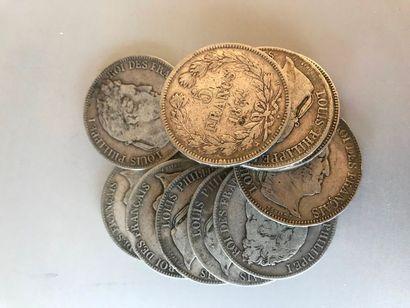 Lot: 10 pièces de 5 francs argent de 1834,...