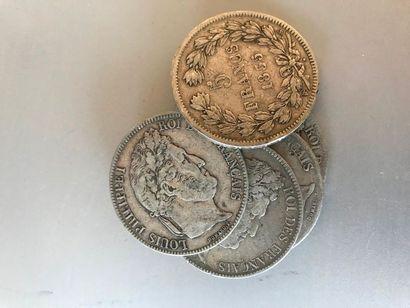 Lot : Pièces de 5 francs argent, 3 de 1835...