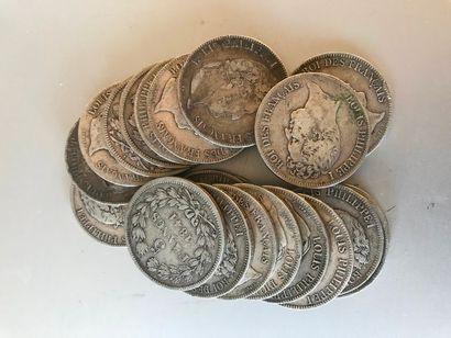 Lot: Pièces de 5 francs argent, 5 de 1837,...