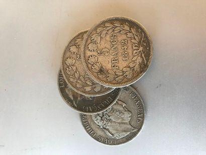 Lot: Pièces de 5 francs argent, 1 de 1842,...