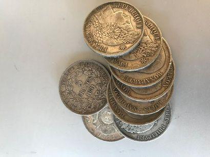 Pièces de 5 francs argent, 1 de 1850, 2 de...