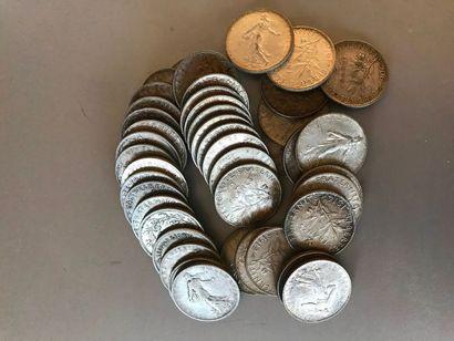 Lot : Pièces de 2 francs argent, 1901, 1902,...
