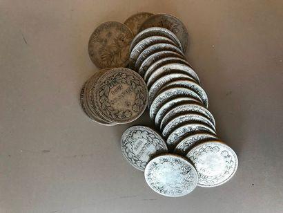 Lot : Pièces de 2 francs argent, 1870, 1871,...