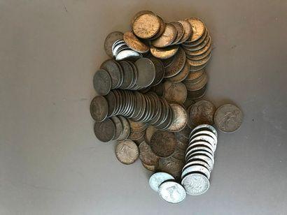 Lot: Pièces de 50 centimes argent, poids:...