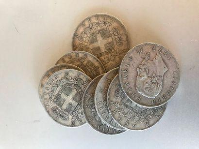 Lot: Pièces de 5 lires Italie argent, 1...