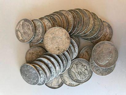 Lot: Pièces de 5 francs Belgique, 1 de 1851,...