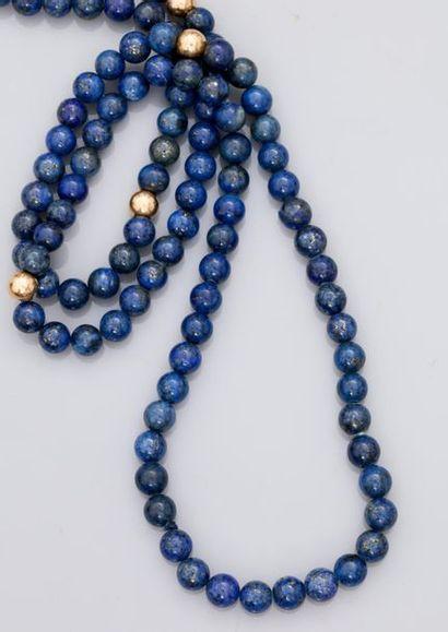 Collier de perles de lapis lazulis, longueur:...