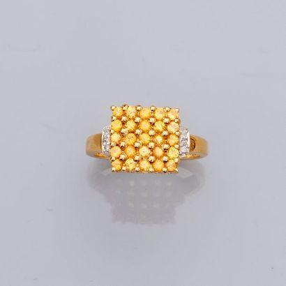 Bague carrée en or jaune, 750 MM, centrée...