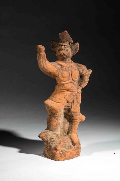 Offrande Mingqi illustrant un Lokapala gardien...