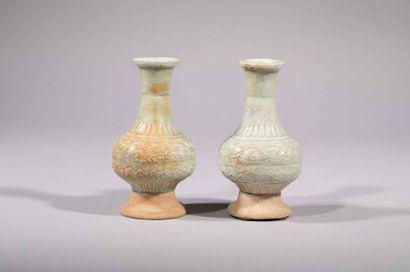 Paire de vases d'offrande Qinbaï balustre...