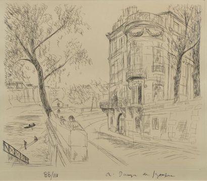 André DUNOYER DE SEGONZAC (1884-1974). L'Ile de la Cité. Pointe-sèche, signée en...