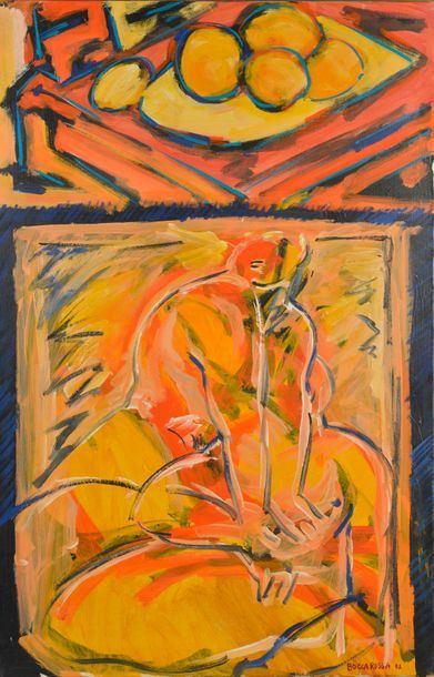 """Patrick BOCCA ROSSA (né en 1954). """"L'étouffement"""". Acrylique sur toile signée et..."""
