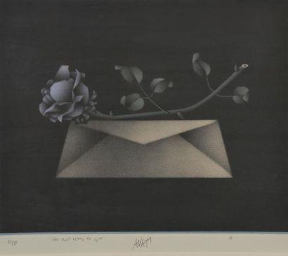 Mario AVATI (1921- 2009). Une rose venue de loin. Lithographie signée en bas au...
