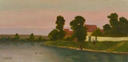 École française du XIXe siècle. Lavandière...
