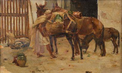 Francisque NOAILLY (1855-1942). L'ânier préparant...