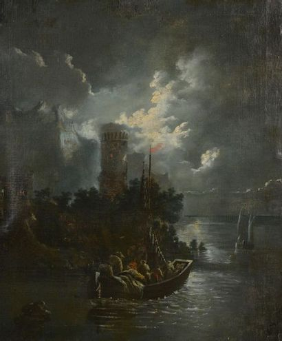École du XIXe siècle. Embarcation au clair de lune. Le pont dans la nuit. Deux huiles...