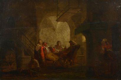 École française vers 1820. Scène d'auberge....