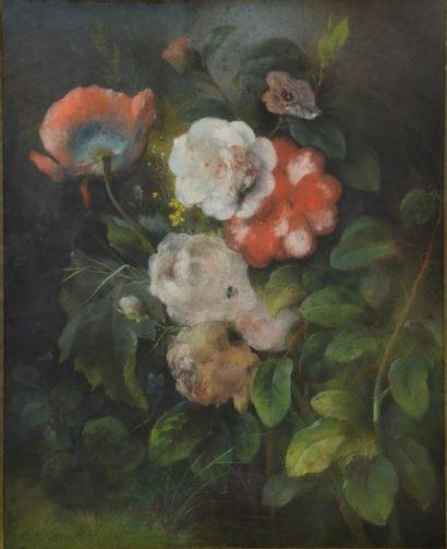 Charles-Nicolas LEMERCIER (XIXe siècle). Fleurs et fruits. Deux pastels signés et...