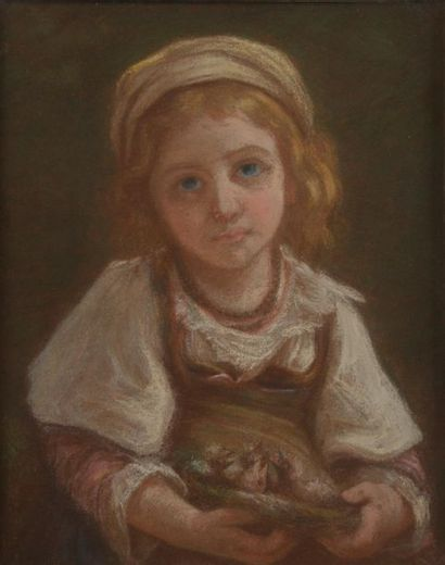 École du XIXe siècle. Petite fille aux yeux...