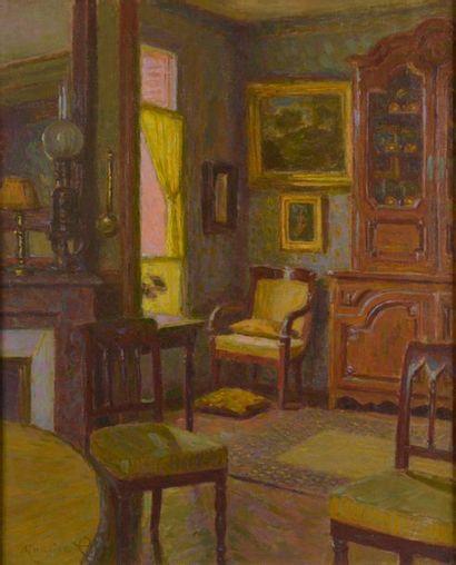 Maurice ELIOT (1862-1945). Intérieur de maison....