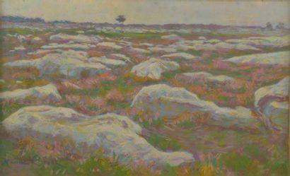 Maurice ELIOT (1862-1945). Paysage de rochers...