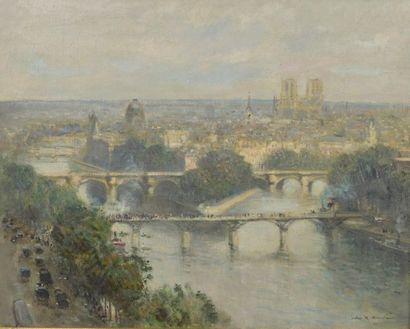 Jules-René HERVÉ (1887-1981). Les quais de Seine à Paris. Huile sur toile signée...