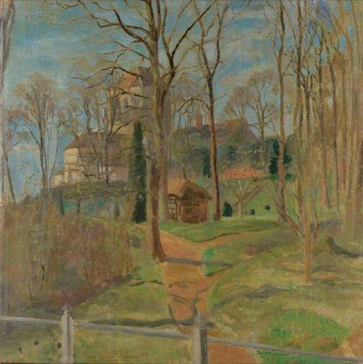 Pierre-Eugène CLAIRIN (1897-1980). Vue d'église. Huile sur toile signée et datée...