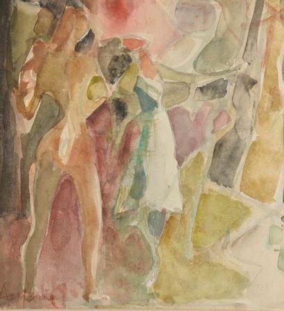 ALYXME (XXe siècle). Nus féminins. Aquarelle signée en bas à gauche. Haut. : 23...