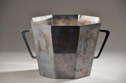 Sceau à glace octogonal à anses en métal...