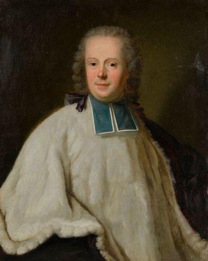 École française du XVIIIe siècle. Portrait d'un ecclésiaste. Huile sur toile (rentoilée)....