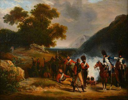 *École française du XIXe siècle. Les soldats de l'Empire : le bivouac. Huile sur...