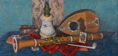 Louis CHARRAT (1903-1971). Nature morte au luth et à la clarinette. Huile sur toile...